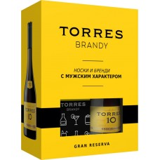 Бренди TORRES 10 Gran Reserva 38%, п/у + носки, 0.7л, Испания, 0.7 L