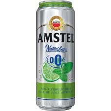 Напиток пивной безалкогольный AMSTEL 0.0. Natur Лайм и мята нефильтрованный, пастеризованный осветленный, не более 0,3%, ж/б, 0.43л, Россия, 0.43 L