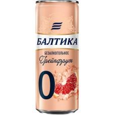 Напиток пивной безалкогольный БАЛТИКА 0 Грейпфрут ароматизированный, 0,5%, ж/б, 0.33л, Россия, 0.33 L