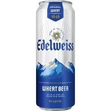 Напиток пивной EDELWEISS Пшеничное нефильтрованный пастеризованный осветленный, 4,9%, ж/б, 0.43л, Россия, 0.43 L