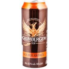 Напиток пивной GRIMBERGEN Double ambree пастеризованный, 6,5%, ж/б, 0,5л, Польша, 0.5 L