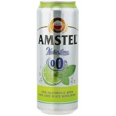 Напиток пивной светлый безалкогольный AMSTEL Lime with mint нефильтрованный, не более 0,5%, ж/б, 0.45л, Россия, 0.45 L