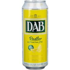 Напиток пивной светлое DAB Radler нефильтрованный пастеризованный осветленный, 3%, ж/б, 0.5л, Германия, 0.5 L