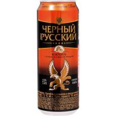 Напиток слабоалкогольный ЧЕРНЫЙ РУССКИЙ Perfect с коньяком и вкусом миндаля, 7,2%, ж/б, 0.45л, Россия, 0.45 L