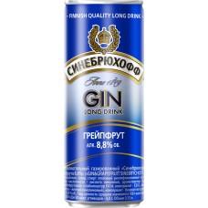 Напиток слабоалкогольный SINEBRYCHOFF Gin Grapefruit, 8.8%, ж/б, 0.33л, Россия, 0.33 L