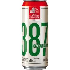 Пиво светлое 387 Особая варка пастеризованное, 6,8%, ж/б, 0.45л, Россия, 0.45 L
