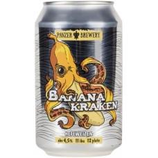 Пиво светлое PANZER BREWERY Banana kraken пшеничное нефильтрованное непастеризованное неосветленное, 4,5%, ж/б, 0.33л, Россия, 0.33 L